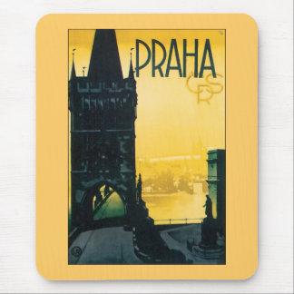 Poster de Praga del vintage (Praga) Alfombrilla De Ratón