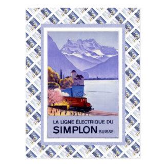 Poster de Raulway del suizo del vintage, Simplon e Tarjetas Postales