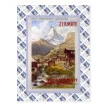 Poster de Raulway del suizo del vintage, Zermatt Tarjeta Postal