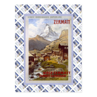 Poster de Raulway del suizo del vintage, Zermatt Postales