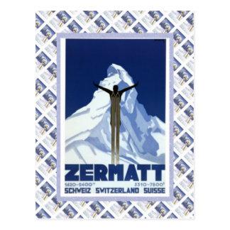 Poster de Raulway del suizo del vintage, Zermatt Tarjetas Postales