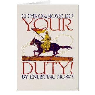 Poster de reclutamiento 01 de la Primera Guerra Tarjeta De Felicitación