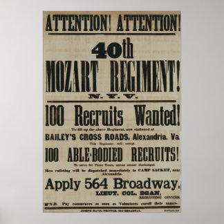 Poster de reclutamiento de la guerra civil póster