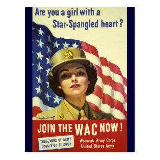 Poster de reclutamiento de WAC Tarjeta Postal