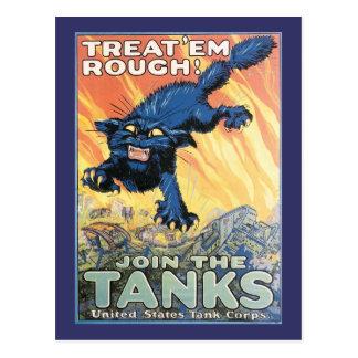 Poster de reclutamiento del cuerpo del tanque de tarjetas postales
