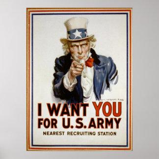 Poster de reclutamiento del vintage del tío Sam