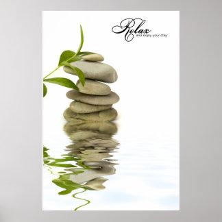 Poster de relajación de la reflexión del ZEN Stone