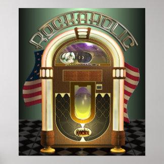 Poster de Rockaholic de la máquina tocadiscos