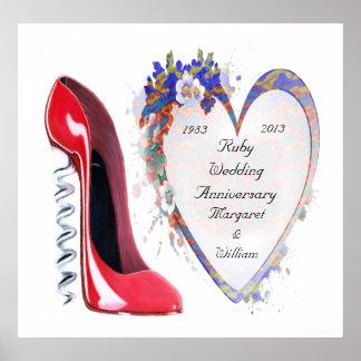 Poster de rubíes del aniversario de boda, con adap