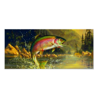 Poster de salto de la trucha del río del arco iris