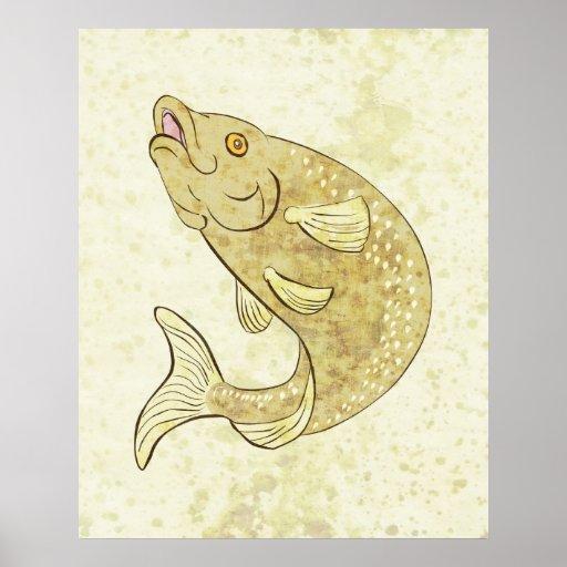 Poster de salto de los pescados de la trucha
