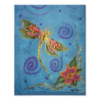 Poster de seda pintado a mano de la libélula de Cy