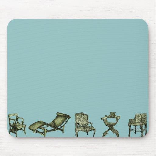 Poster de sillas en turquesa alfombrillas de ratón
