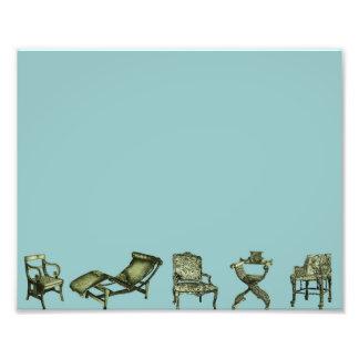 Poster de sillas en turquesa impresion fotografica