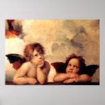 Poster de Sistine Madonna de las querubes de Rapha