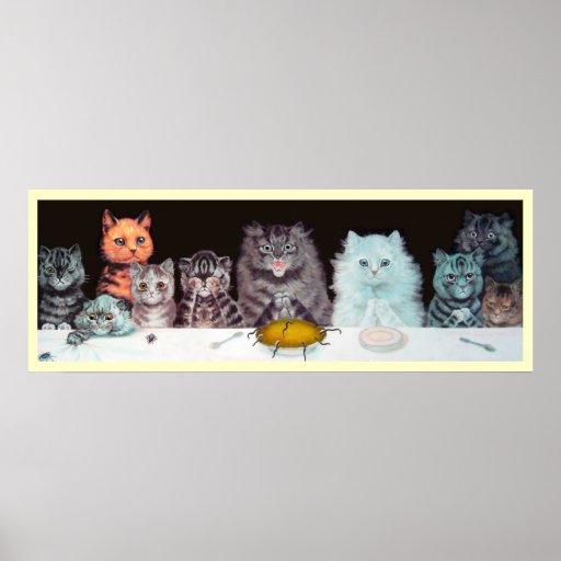 Poster de Suppertime de los gatos de Louis Wain de