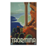 Poster de Taormina Sicilia Italia VintageTravel
