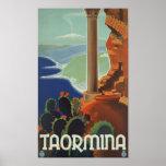 Poster de Taormina Sicilia Italia VintageTravel Póster