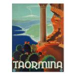 Poster de Taormina Sicilia Italia VintageTravel Postal