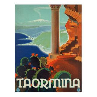 Poster de Taormina Sicilia Italia VintageTravel Tarjeta Postal