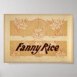 Poster de teatro del vintage del arroz de Fanny