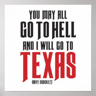 Poster de Tejas de la cita de Davy Crockett