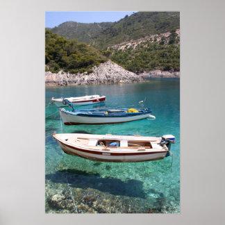 Poster de tres barcos de pesca