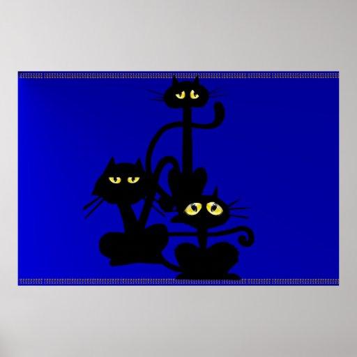 Poster de tres gatos negros