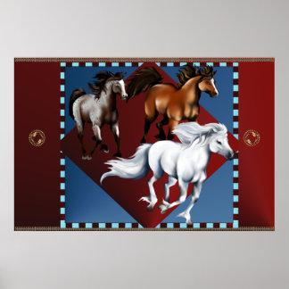 Poster de tres mustangos