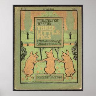 Poster de tres pequeño cerdos