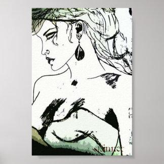 Poster de una mujer, perfil lateral