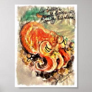 Poster de una pintura del cepillo y de la tinta de