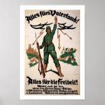 Poster de Vaterland WWI de las pieles de Alles (bl