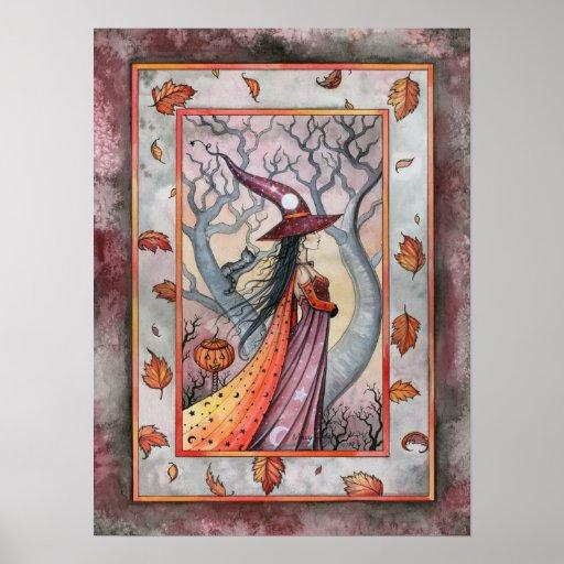 Poster de Wiccan de la bruja de la caída del otoño