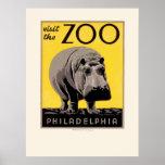 Poster de WPA del hipopótamo del parque zoológico