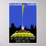 Poster de WPA del vintage de Chicago de la fuente  Póster