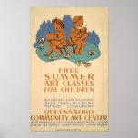 Poster de WPA del vintage de las clases de arte de