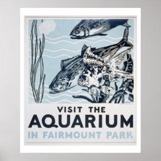 Poster de WPA del vintage del acuario del parque d