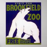 Poster de WPA del vintage del oso polar del parque