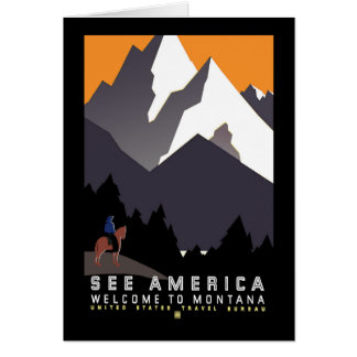Poster de WPA Montana del vintage Felicitación