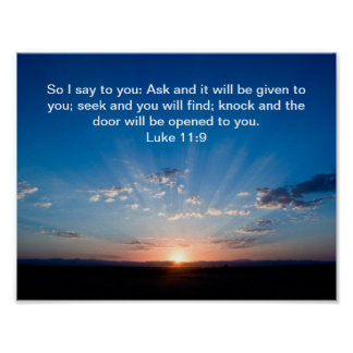 Poster del 11:9 de Lucas del verso de la biblia de