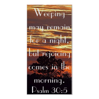 poster del 30:5 del salmo del verso de la biblia