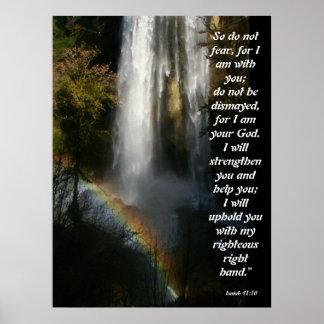 Poster del 41:10 de Isaías de la cascada y del arc Póster