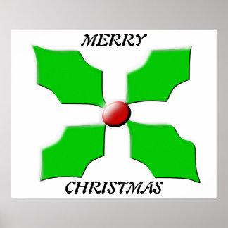 Poster del acebo de las Felices Navidad Póster