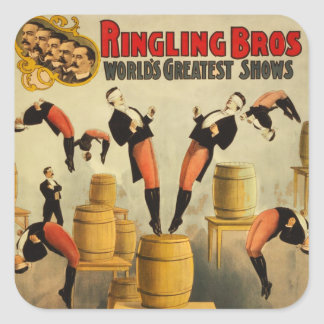 Poster del acto secundario de circo del vintage calcomanías cuadradass
