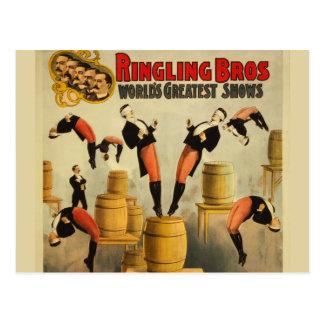 Poster del acto secundario de circo del vintage postales