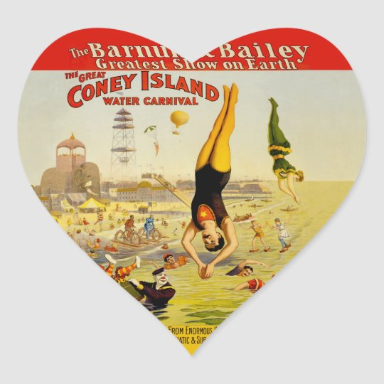 Poster del acto secundario de Coney Island Pegatina En Forma De Corazón