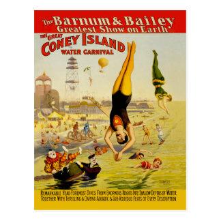 Poster del acto secundario de Coney Island Tarjeta Postal
