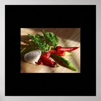 Poster del ajo y de la pimienta