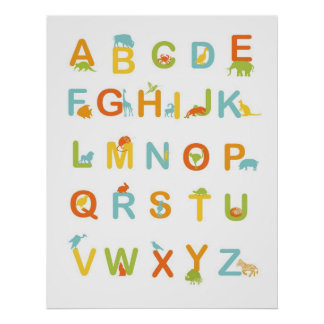 Poster del alfabeto con colores soleados